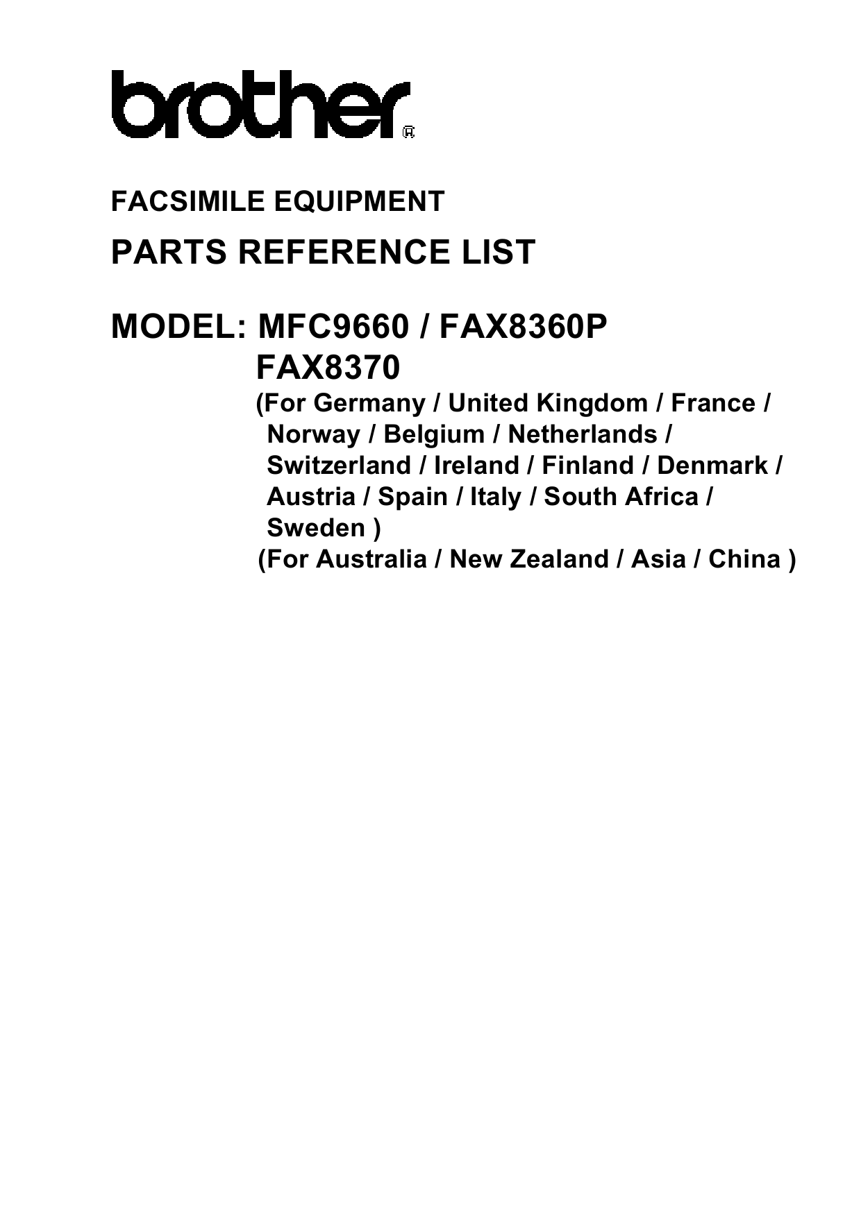 Brother MFC 9660 FAX8360 8370 Parts Reference-1